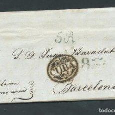 Sellos: CARTA PREFILATELIA AÑO 1840 DE CUBA A BARCELONA SELLO CUBA BARADAT Y SOBRINOS. Lote 102740511