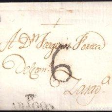 "Sellos: 1820 (28 DIC). TARAZONA A ZARAGOZA. MARCA ""T.NA/ARAGON"" Nº 3.. Lote 103901651"