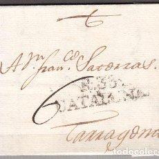 Sellos: CARTA DP.5 - REUS A TARRAGONA (7 FEBRERO 1805) PR.8 Y PORTEO 6 MANUSCRITO - CARTA DP.5 - REUS A TARR. Lote 104195252