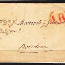 Sellos: CARTA DP.5 - ARENYS DE MAR A BARCELONA (15 NOV.1846) SIN MARCA DE SALIDA, CON BA - CARTA DP.5 - AREN. Lote 104195260