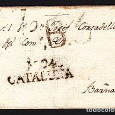 Sellos: CARTA DP.5 - MANRESA A BARCELONA (16 AGOSTO 1804) PE.9 Y B.5 DE PORTEO - CARTA DP.5 - MANRESA A BARC. Lote 104195264