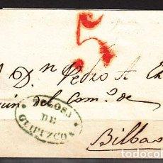 Sellos: CARTA DP.11 - TOLOSA A BILBAO 1841 MARCA Nº 9 EN AZUL. BONITA - CARTA DP.11 - TOLOSA A BILBAO 1841 M. Lote 104195462