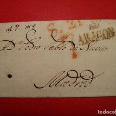 Sellos: PREFILATELIA. CARTA DE ZARAGOZA, ENVIADA A MADRID. SEPTIEMBRE 1830. S.21, 7 ARAGÓN F4. Lote 104310799