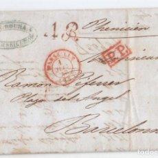 Sellos: PREFILATELIA. CARTA ENTERA DE MARSELLA. FRANCIA A BARCELONA. CORREO MARÍTIMO. POR EL PHENICIEN. 1843. Lote 115200131