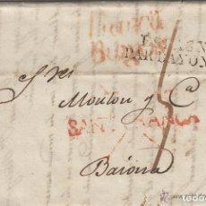 Sellos: PREFILATELIA CARTA 1827 SANTANDER CANTABRIA - SANT. FRANCA /FRANCIA FRANCA BURGOS Y ESPAGNE BAYONNE. Lote 116126959