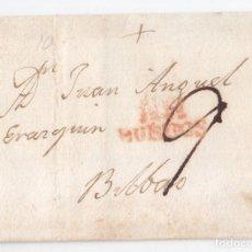 Sellos: PREFILATELIA. ENVUELTA DE BURGOS A BILBAO. 1824.. Lote 116342287