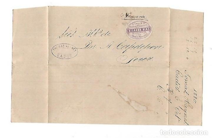 COSARIO. RICARDO DIAZ. CADIZ - JEREZ. 1880. VER IMAGEN (Filatelia - Sellos - Prefilatelia)