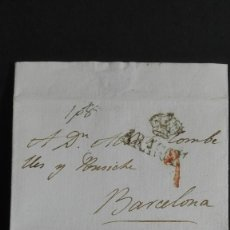 Sellos: PREFILATELIA ARAGÓN CARTA DE ZARAGOZA A BARCELONA 1826 CONDESA DE SOBRADIEL . Lote 118236755