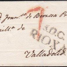 Selos: 1820. SANTO DOMINGO DE LA CALZADA A VALLADOLID. MARCA Nº 4 NEGRO SANTO DOMINGO. MUY BONITA ENVUELTA.. Lote 118994975