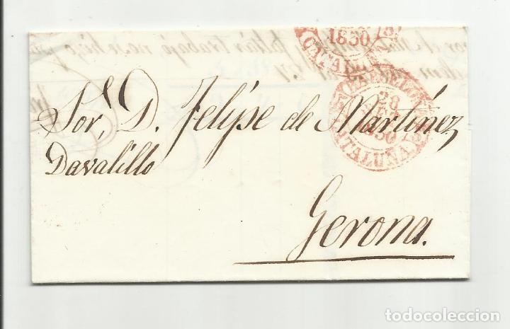 CIRCULADA Y ESCRITA 1850 DE BARCELONA A GERONA (Filatelia - Sellos - Prefilatelia)