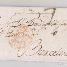 Sellos: PREFILATELIA. CARTA ENTERA DE VALENCIA A BARCELONA. 1816. PORTEO 7 CUARTOS. Lote 128019615