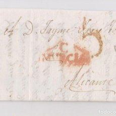 Sellos: CARTA DE CARTAGENA. MURCIA. A ALICANTE. 1816. SOLICITUD EMBARQUE DE OBJETOS. Lote 128410015