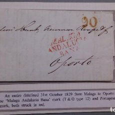 Sellos: CARTA COMPLETA - AÑO 1829 - MALAGA A PORTO - MARCAS MALAGA ANDALUCIA BAXA Y 90 PORTUGAL.. Lote 132498942