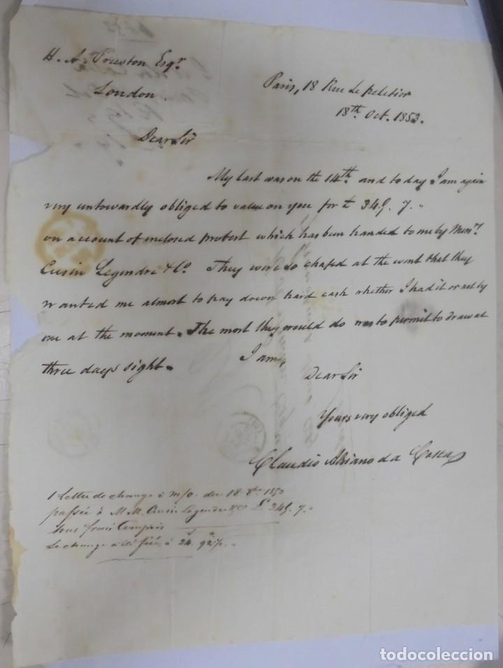 CARTA DE PARIS A LONDRES. 1853. VER. MANUSCRITA (Filatelia - Sellos - Prefilatelia)