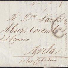 Timbres: 1819. MADRID A ÁVILA. CARTA COMPLETA DIRIGIDA AL COMERCIANTE SANTOS ABOIN. PORTEO 6 CUARTOS NEGRO.. Lote 133729138