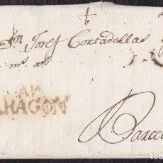 Sellos: 1799. LA ALMUNIA A BARCELONA. MARCA AIA/ARAGON NEGRO. PORTEO B.6. EXTRAORDINARIA CONSERVACIÓN.. Lote 133734746