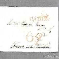 Sellos: PREFILATELIA. CARTA. DE CADIZ A JEREZ DE LA FRONTERA. 1828.. Lote 133809058
