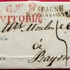 Sellos: CARTA PREFILATÉLICA DE VITORIA A BAYONA - 1824. Lote 134438378