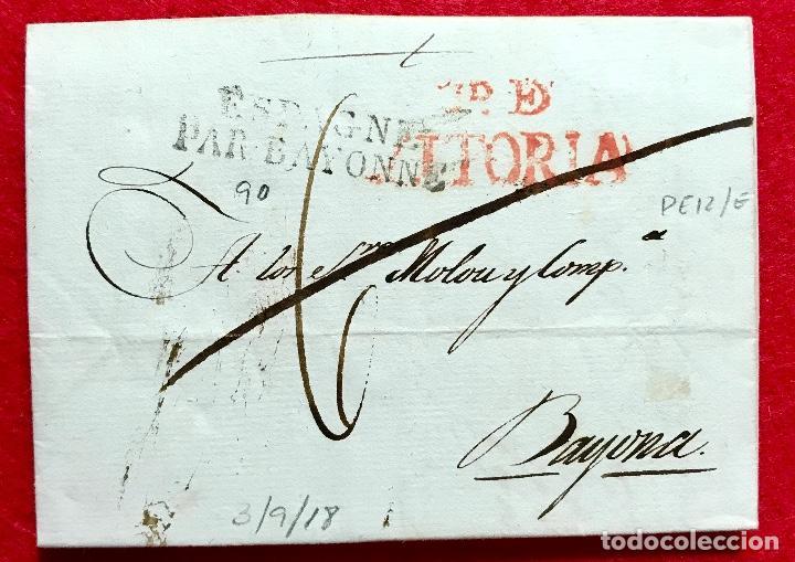 CARTA PREFILATÉLICA DE VITORIA A BAYONA - 1818 (Filatelia - Sellos - Prefilatelia)