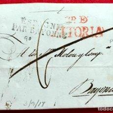 Sellos: CARTA PREFILATÉLICA DE VITORIA A BAYONA - 1818. Lote 134444682