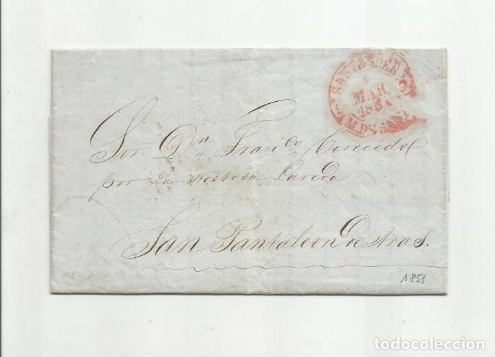 CIRCULADA Y ESCRITA 1851 DE SANTANDER A SAN PANTALEON MARCA BAEZA (Filatelia - Sellos - Prefilatelia)