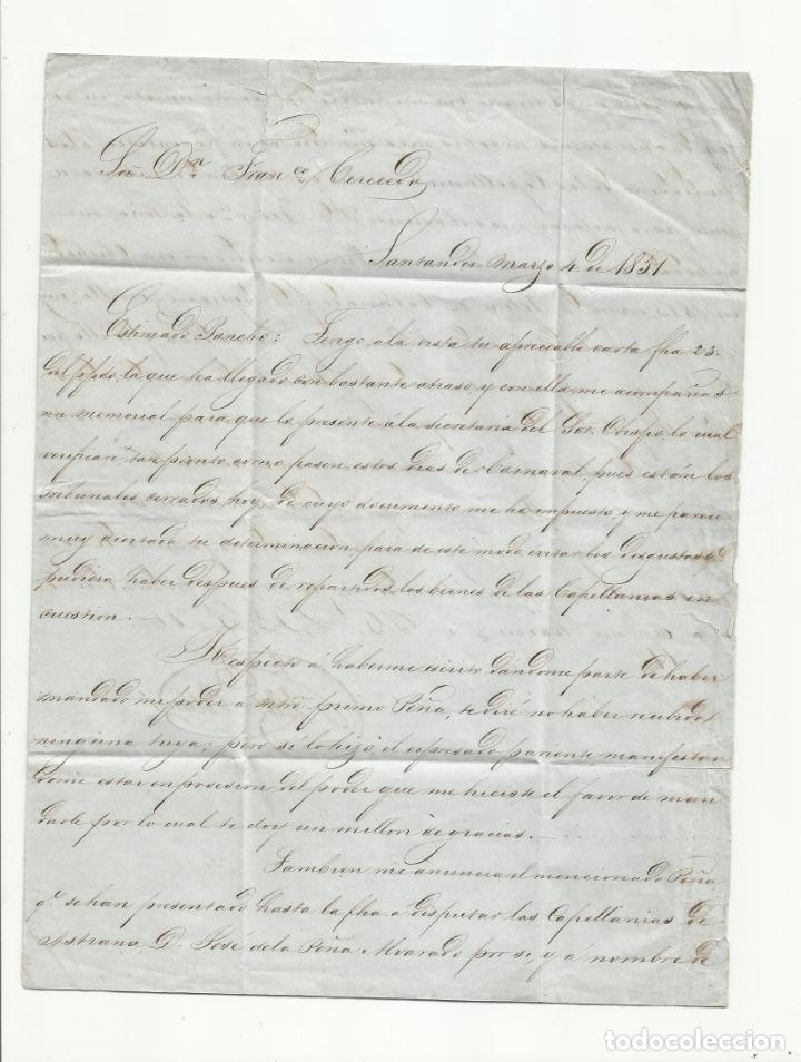 Sellos: circulada y escrita 1851 de santander a san pantaleon marca baeza - Foto 2 - 137130390