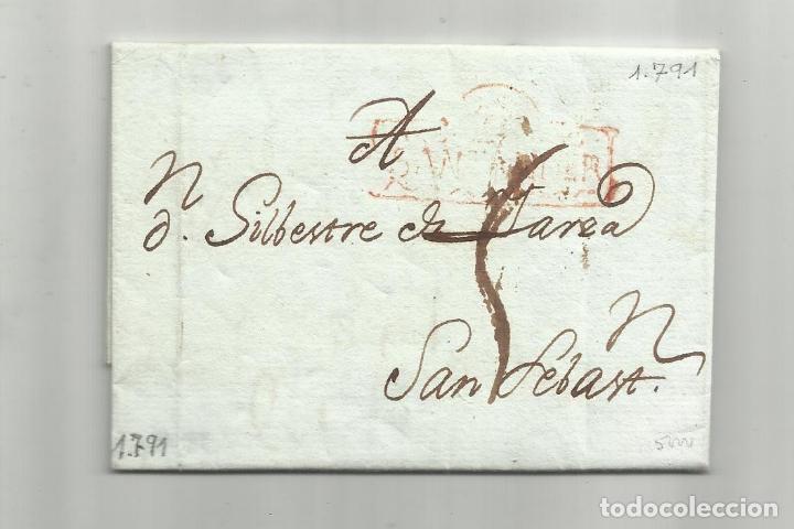 CIRCULADA Y ESCRITA 1791 DE SANTANDER A MADRID MARCA SANTANDER (Filatelia - Sellos - Prefilatelia)