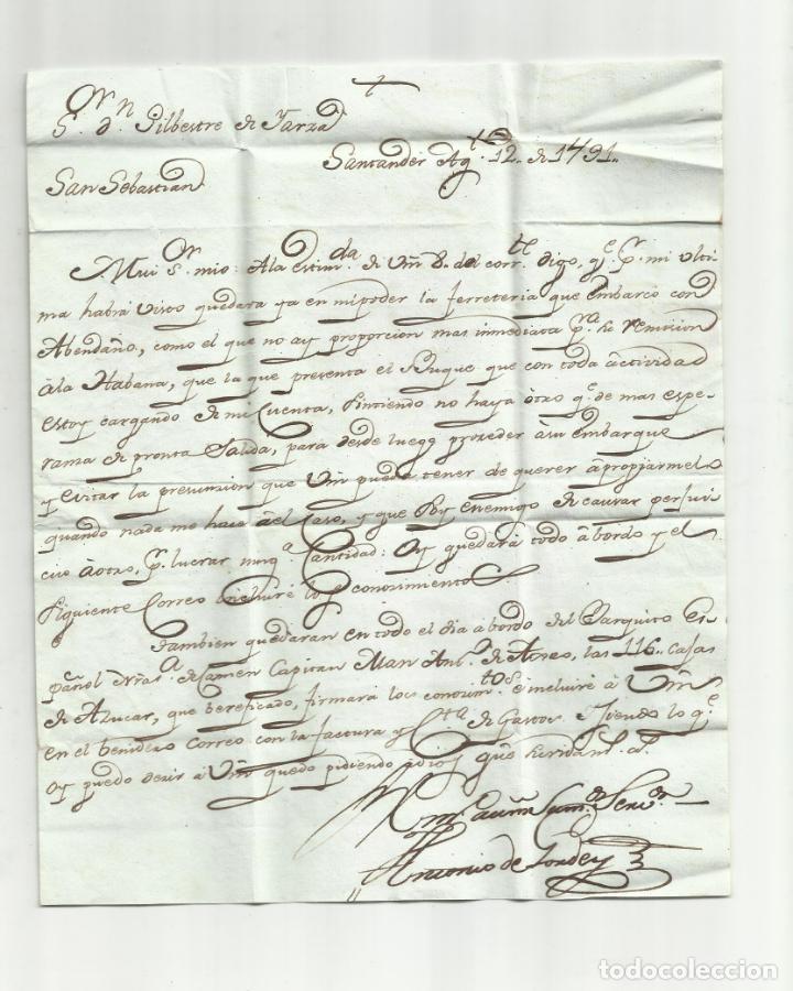 Sellos: circulada y escrita 1791 de santander a madrid marca santander - Foto 2 - 137132030