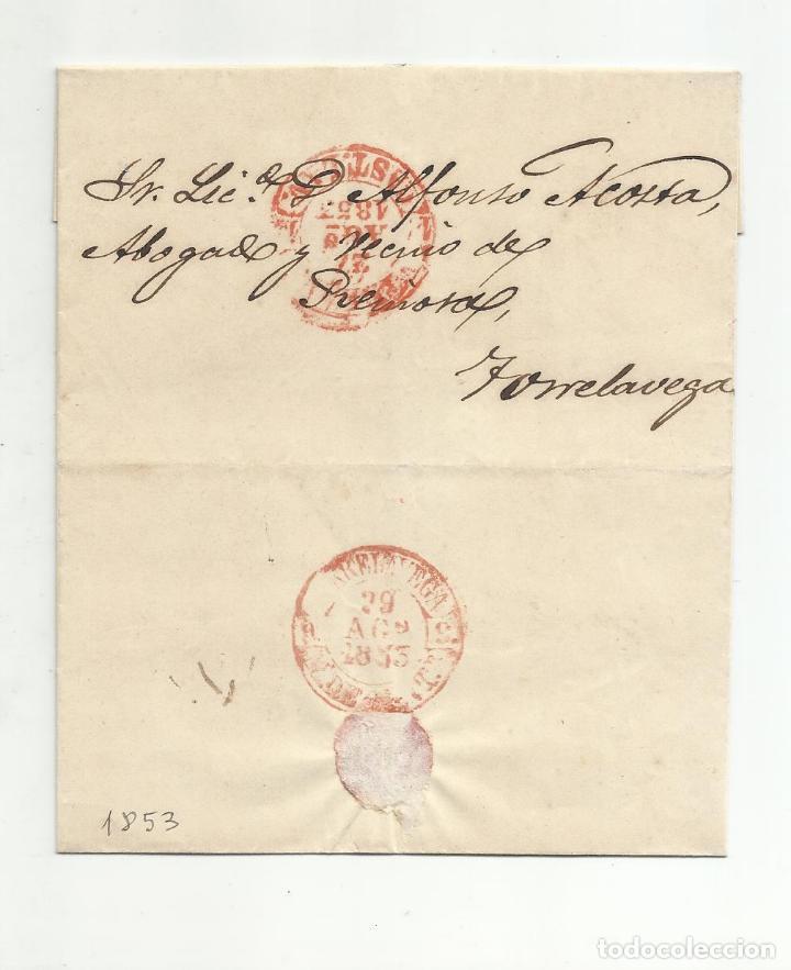 CIRCULADA Y ESCRITA 1853 DE VALLADOLID A TORRELAVEGA SANTANDER MARCA BAEZA (Filatelia - Sellos - Prefilatelia)