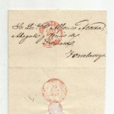Sellos: CIRCULADA Y ESCRITA 1853 DE VALLADOLID A TORRELAVEGA SANTANDER MARCA BAEZA. Lote 137132462