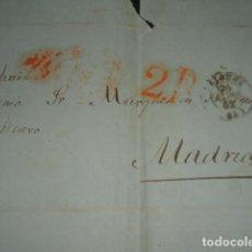 Sellos: CARTA PREFILATELICA CIRCULADA DE BAYONA A MADRID EN 1852 PORTEO 2 REALES. Lote 140209758