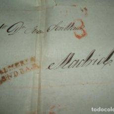 Sellos: CARTA PREFILATELICA CIRCULADA DE ALMERIA ANDALUCIA BAJA A MADRID PORTEO 8 REALES. Lote 140210094