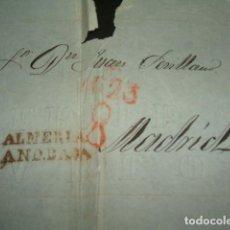Sellos: CARTA PREFILATELICA CIRCULADA DE ALMERIA ANDALUCIA BAJA A MADRID PORTEO 8 REALES. Lote 140210914