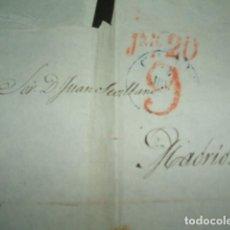 Sellos: CARTA PREFILATELICA CIRCULADA A MADRID PORTEO 9 REALES. Lote 140211778