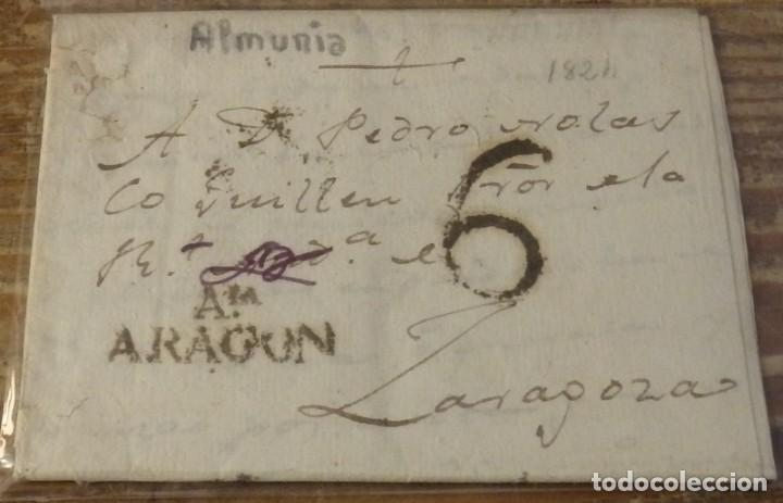 1824. LA ALMUNIA A ZARAGOZA. MARCA AIA/ARAGON NEGRO ACEITOSO. PORTEO 6 CUARTOS. PRECIOSA. (Filatelia - Sellos - Prefilatelia)