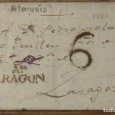 Sellos: 1824. LA ALMUNIA A ZARAGOZA. MARCA AIA/ARAGON NEGRO ACEITOSO. PORTEO 6 CUARTOS. PRECIOSA.. Lote 143971934