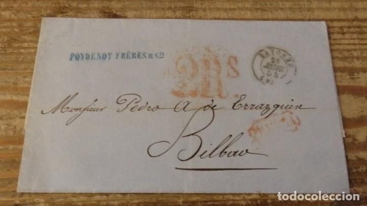 1854, CARTA CIRCULADA ENTRE BAYONA Y BILBAO (Filatelia - Sellos - Prefilatelia)