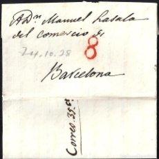 Sellos: PORTEOS. 1829. ESPAÑA. SPAIN. MADRID A BARCELONA.. Lote 144433213