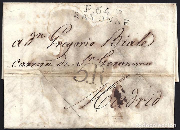 CORREO DESINFECTADO. 1818. ESPAÑA. SPAIN. BAYONNE. BAYONA A MADRID. (Filatelia - Sellos - Prefilatelia)