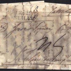 Sellos: CORREO DESINFECTADO. 1827. ESPAÑA. SPAIN. MARSEILLE. MARSELLA A SANT FELIU DE GUIXOLS.. Lote 144856488