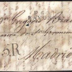 Sellos: CORREO DESINFECTADO. 1817. ESPAÑA. SPAIN. FRANCIA. FRANCE. BAYONNE. BAYONA A MADRID.. Lote 144857016