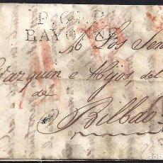 Sellos: CORREO DESINFECTADO. 1830. ESPAÑA. SPAIN. FRANCIA. FRANCE. BAYONNE. BAYONA A BILBAO.. Lote 144857192