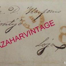 Sellos: ALFARNATE,MALAGA,1855, CARTA A LOJA, FECHADOR DE LOJA, PORTEO 8. Lote 145526114