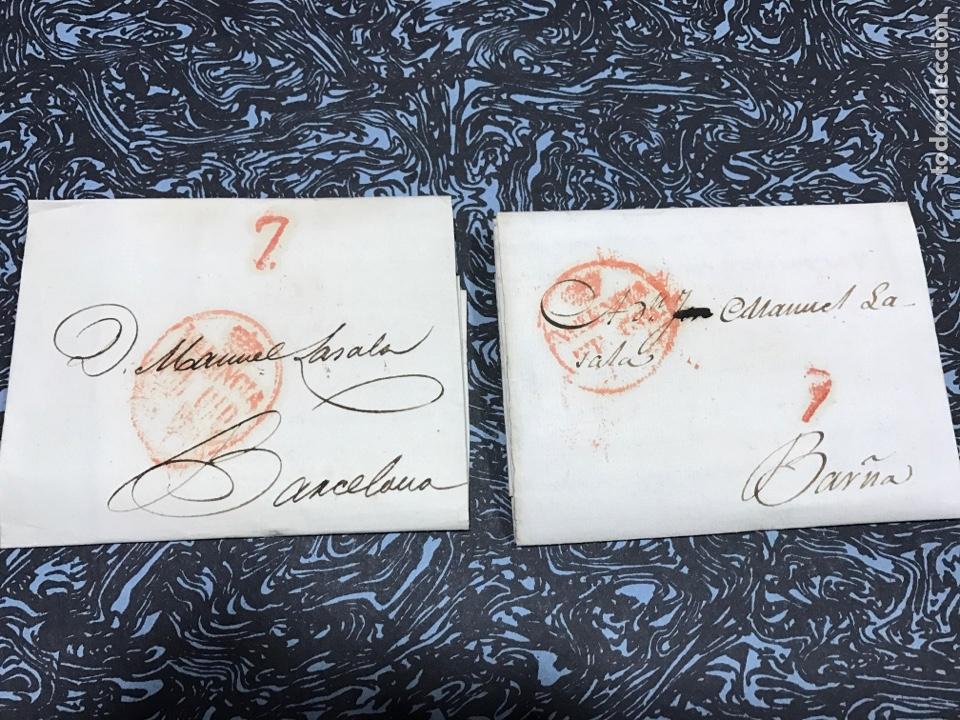 PREFILATELIA VALENCIA BARCELONA. 2 CARTAS.1827. PAPEL FILIGRANA (Filatelia - Sellos - Prefilatelia)