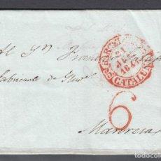 Sellos: PREFILATELIA. BARCELONA A MANRESA. 21 DE JUNIO DE 1844. FECHADOR ROJO. PORTEO 6 CUARTOS.. Lote 147007754