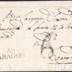 Sellos: 1830. LA ALMUNIA DE DOÑA GODINA A ZARAGOZA. MARCA AIA/ARAGON NEGRO PORTEO 6 CUARTOS. CARTA COMPLETA.. Lote 147975542
