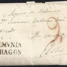 Sellos: 1830. LA ALMUNIA DE DOÑA GODINA A ELCHE. ALMUNIA/ARAGON NEGRO PORTEO 9 CUARTOS ROJO. CARTA COMPLETA.. Lote 147975686