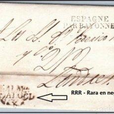 Sellos: ALMERIA - PREFILATELIA CIRCULADA A LONDRES 1827 - MARCA EN NEGRO RRR - BONITA PIEZA..!!. Lote 148221710