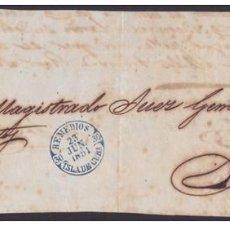 Sellos: PREFI-460 CUBA SPAIN ESPAÑA (LG-616) 1851. FRONTAL PLICA JUDICIAL BAEZA REMEDIOS TIPO DE CUBA.. Lote 148460928