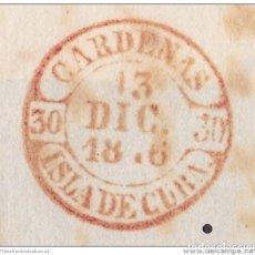 Sellos: PREFI-474 CUBA SPAIN ESPAÑA. (LG-702). PREFILATELIA STAMPLESS. 1846. PLICA BAEZA CARDEANS EN ROJO.. Lote 148460972